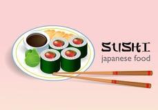 Sushi sulla zolla Fotografia Stock
