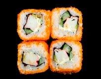 Sushi sur le noir photo libre de droits