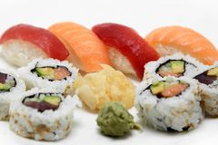 Sushi Surprise Platter. Sushi and California rolls on a platter Stock Image