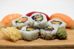 Sushi Surprise Platter. Sushi and California rolls on a platter Stock Photography