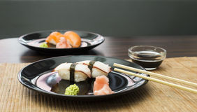 Sushi in sushi bar Royalty Free Stock Photos