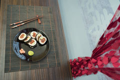 Sushi in sushi bar Royalty Free Stock Photography