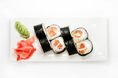 Sushi, susi, roll, food China. Sushi roll platted on a white plate stock photo