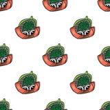 Sushi svegli comici divertenti del fumetto di vettore Reticolo senza giunte Gunkan, nigiri e rotoli Fotografie Stock Libere da Diritti