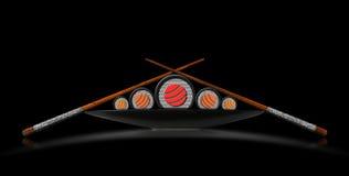 Sushi Symbol on Black Background Royalty Free Stock Photography