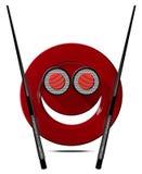 Sushi - Symbol mit lächelnder Platte Stockbilder