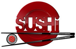 Sushi - Symbol with Plate and Chopsticks. Sushi symbol with red plate, sushi roll, black and silver chopsticks and text Sushi. Isolated on white background Royalty Free Stock Images