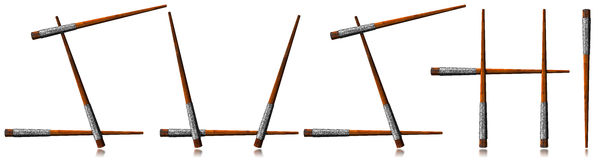 Sushi Symbol - Wooden Chopsticks Stock Images