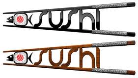 Sushi Symbols - Wooden and Black Chopsticks Stock Photography