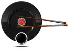 Sushi - Symbool met Plaat en Eetstokjes royalty-vrije illustratie