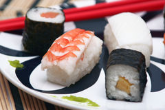 Sushi on the table-cloth, detail Stock Photo