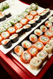 Sushi on the table. In a restaurant Royalty Free Stock Photos