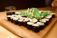 Sushi on the table. In a restaurant Stock Images