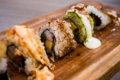 Sushi tagliati del pesce essiccato Fotografia Stock