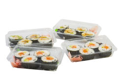 Sushi in takeaway box Royalty Free Stock Images