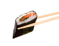 Sushi taked chopsticks. Sushi and chopsticks on white.Iisolated object Royalty Free Stock Photos