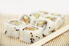Sushi - Tasty California rolls Royalty Free Stock Photo