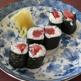 Sushi, tekka maki, tuna row Royalty Free Stock Photography
