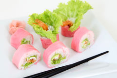 Sushi with tempura. Traditional japanese food Royalty Free Stock Photography
