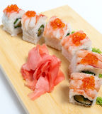 Sushi with tiger shrimp Royalty Free Stock Photo