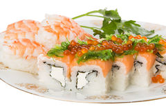 Sushi and tiger shrimps. On a white background Royalty Free Stock Photos