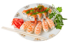 Sushi and tiger shrimps. On a white background Stock Image