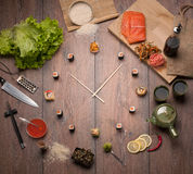 Sushi time. In the form of a wall clock on a wooden background Stock Photography