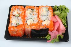 Sushi to go. Isolated image of a ready-to-eat sushi pack Royalty Free Stock Photo