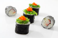 Sushi on top  seaweed. Stock Photos