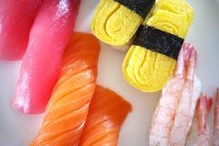 Sushi toro tuna egg seaweed closeup Royalty Free Stock Photos