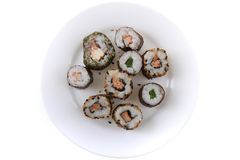 Sushi traditional japan food. Isolated on the white background Royalty Free Stock Photos