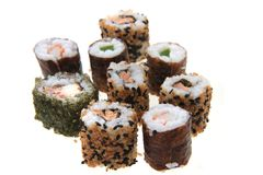 Sushi traditional japan food. Isolated on the white background Stock Photos