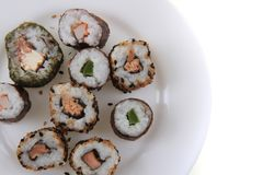 Sushi traditional japan food. Isolated on the white background Royalty Free Stock Photo