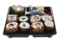 Sushi traditional japan food. Isolated on the white background Royalty Free Stock Photography
