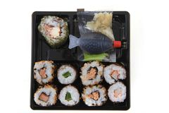 Sushi traditional japan food. Isolated on the white background Stock Images