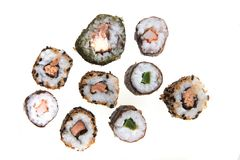 Sushi traditional japan food. Isolated on the white background Stock Photo