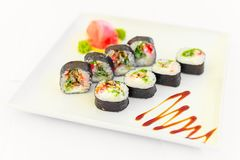 Sushi. The traditional Japanese cuisine Royalty Free Stock Image
