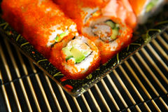 Sushi, traditional japanese food. Delicious Sushi, traditional japanese food royalty free stock photography
