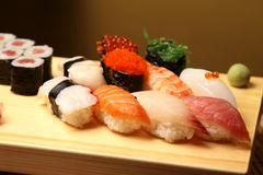 Sushi. Traditional japanese food sushi, rolls on a plate royalty free stock photos