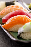 Sushi on Traditional Japanese Plate Royalty Free Stock Images