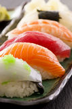 Sushi on Traditional Japanese Plate Stock Image