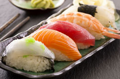 Sushi on Traditional Japanese Plate Royalty Free Stock Photos
