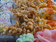 Sushi tray closeup. Close up on a sushi tray with different rolls and toppings Royalty Free Stock Photos