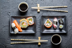 Sushi for two served Royalty Free Stock Photos