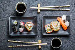 Sushi for two served Stock Photos