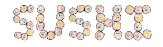 Sushi uit sushi Stock Afbeeldingen
