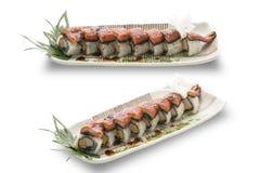 Sushi unagi with sauced slice of smoked Eel,isolated. Royalty Free Stock Photography