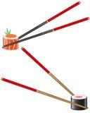 Sushi und Ess-Stäbchen vector Abbildung Lizenzfreie Stockfotos