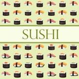 Sushi und Rollen Schablone mit Raum für Text vektor abbildung