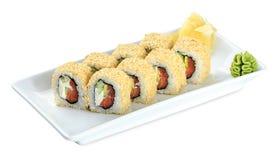 Sushi Uramaki Philadelphia  plate - isolated on white Royalty Free Stock Photos